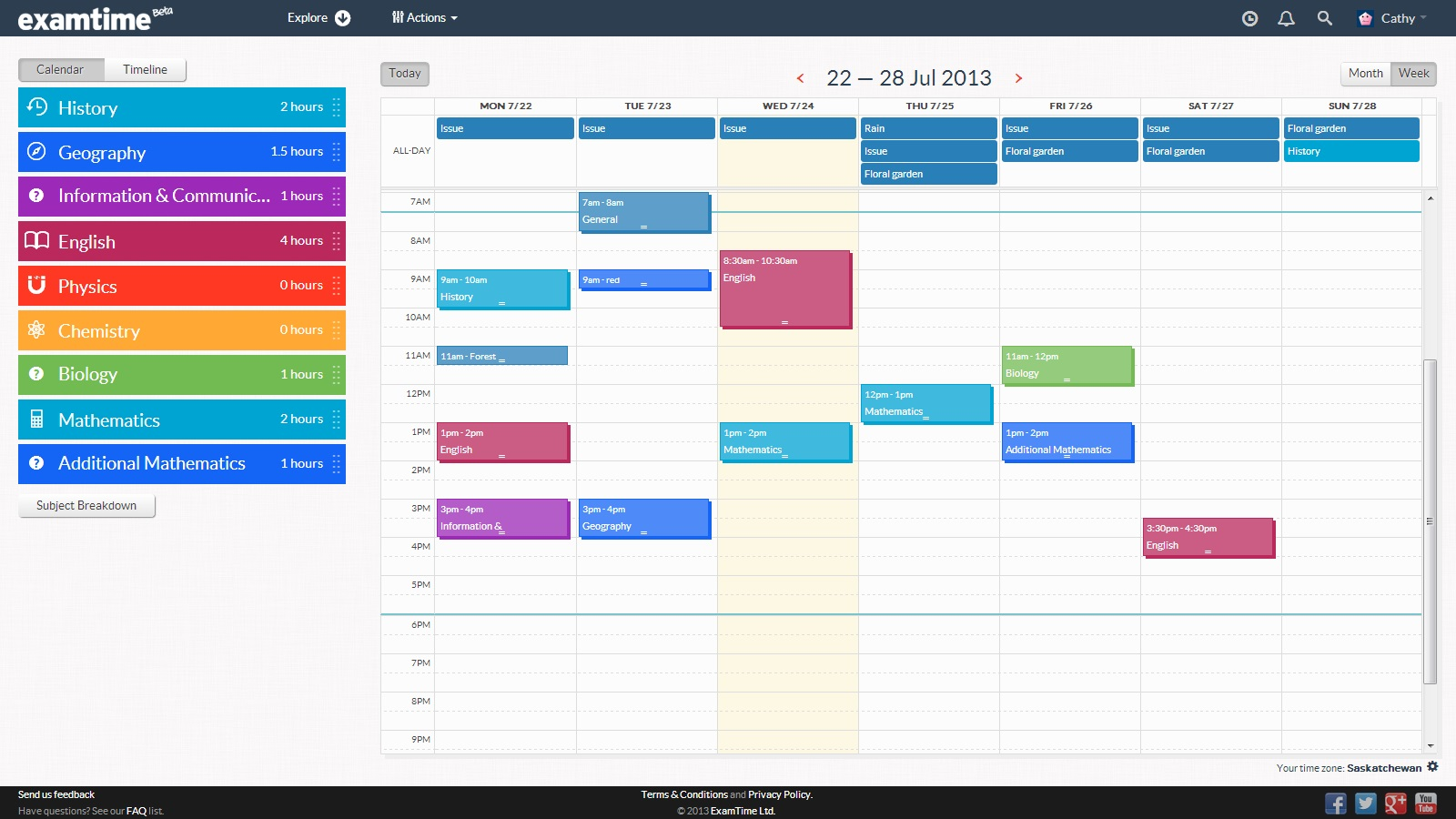Calendar Planner Maker : Create a revision timetable with examtime s new study tool