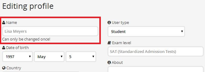 changing ExamTime username